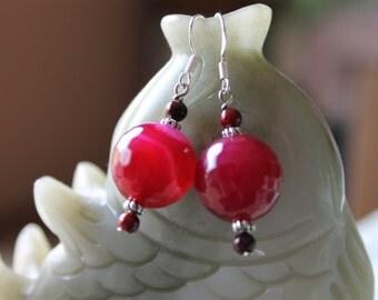 16mm Rose Agate Earrings, sterling silver hook