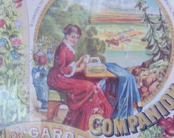 Farm Lithograph Reproduction Barely Vintage Huge Framed Art Home Life Textile Ephemera