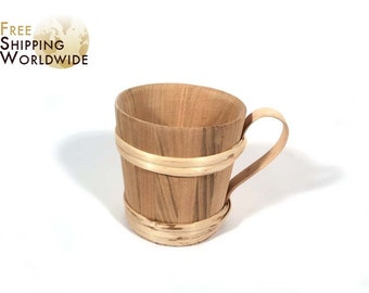 Wooden Mug / Cup / Jar with 5 dcl / 16.9 fluid oz. volume made from Cherry wood