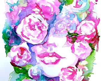 Fashion Watercolor Art Print, Floral Fashion Painting Portrait, Fashion Illustration Watercolor by Lana Moes