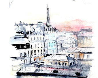 Paris Rooftops Watercolor Painting - Paris Illustration - Cityscape - Rooftops of Paris View from Musee D' Orsay
