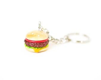 Hamburger Keychain - Fast Food, Miniature Food