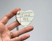 Engagement Heart Ceramic Necklace