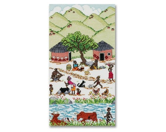 African Village - A counted cross stitch design