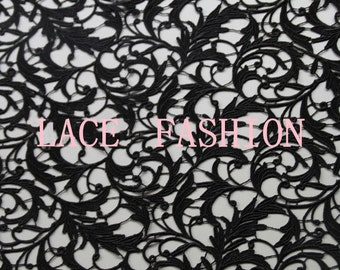 Black lace fabric, venise lace fabric, crocheted lace, retro floral lace fabric