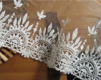 off white vintage lace trim, embroidered tulle lace trim WSCX27B