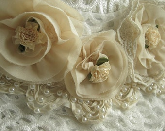 ivory Chiffon Flowers Applique, Pearl Beaded applique, bridal applique, Bridal Corsage, sash applique