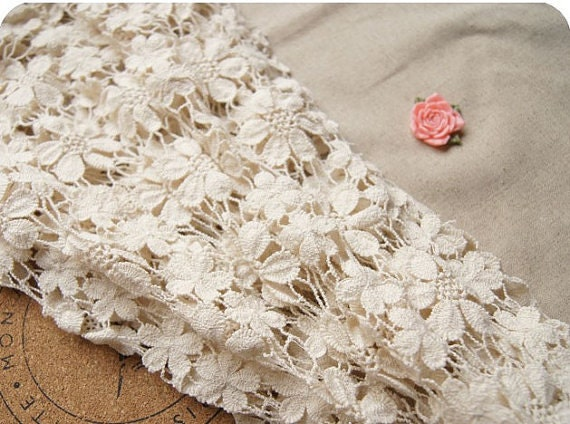 Cotton Wedding Gown: Ivory Chic Cotton Wedding Dress Lace Fabric Bridal Lace