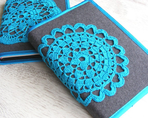 Notebook cover with crochet motif, crocheted journal cover, diary, bible, book cover, gift under 25, grey, turquoise, Ready for shipping