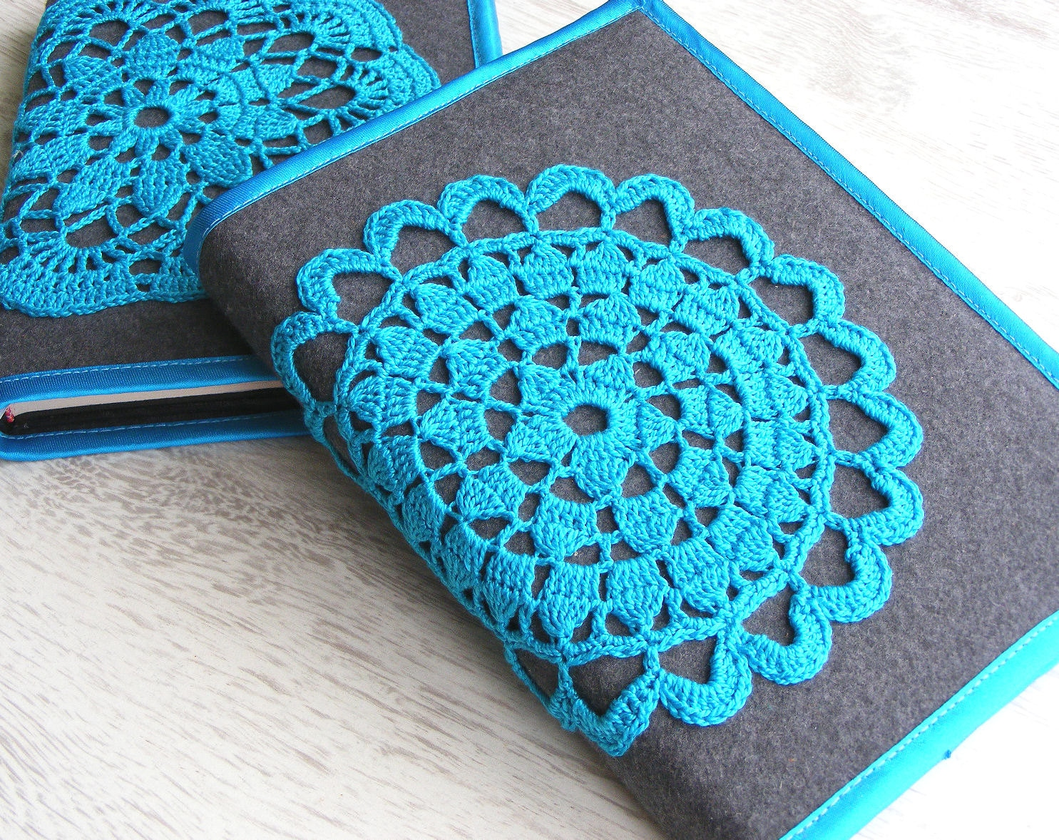 Crochet Lace Book Cover : Notebook cover with crochet motif crocheted journal