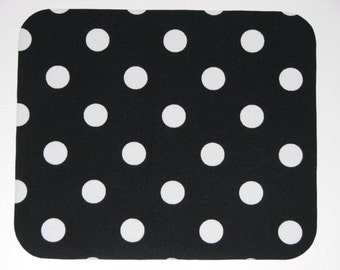Mouse Pad in Black and White Polka Dots Teacher Gift, Coworker Gift, Desk Accessories, Mousepad, Mouse Mat, Mouse Pads