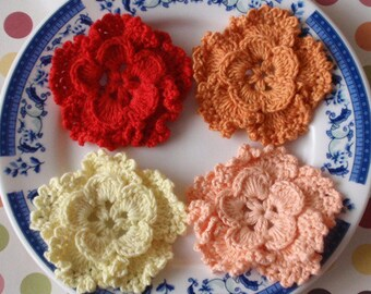 4 Crochet Flowers In Red, Dusty Orange, Lt Yellow, Apricot  YH-127-04
