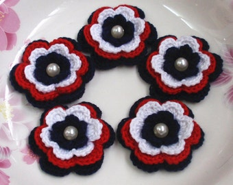 5 Crochet Flowers In Navy, Red, White  YH-159-01