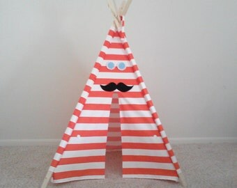 Theteepeeguy Orange Stripe Tent  With Mustache Felt Accessories Teepee Childrens Tipi  44 inch wide orange Play Tent Made to Order