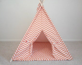 Teepee Orange Chevron Tent and Mat Made to  Order or Gray and White Teepee other colors available