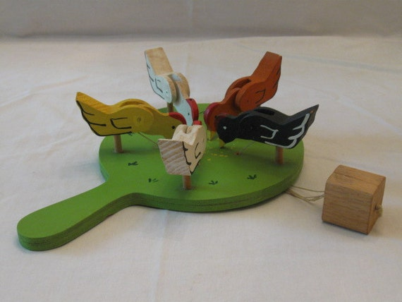 Wood Paddle Toy Folk Art Pecking Chickens Hand Made