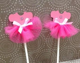 Handmade Tulle Pink Ballerina Cupcake Topper for Girl