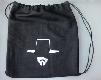 V for Vendetta drawstring backpack /gym bag / beach sack in cotton canvas 35x37cm/14x15 inches