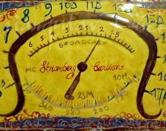 Vintage Radio Dial- Enamel painting- Nostalgia gift for radio lovers. Free shipping