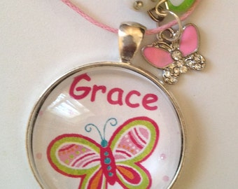 Personalised girls pink butterfly Pendant Necklace in gift box