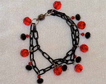 Goth Red and Black Chain Bracelet with Blood Red and Black Beads/ Goth Bracelet/ Goth Jewelry/ Red and Black Bracelet/ Black Chain Goth