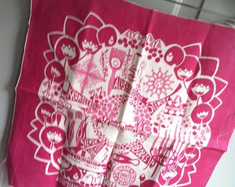 MINT Vintage Textile Pink Tiny Icons of Swedish Life SIGNED 1981