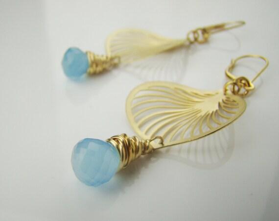 Sky blue chalcedony wire wrapped earrings, gemstone earrings, filigree leaf earrings, dangle earrings, handcrafted jewelry, lovely, fsb