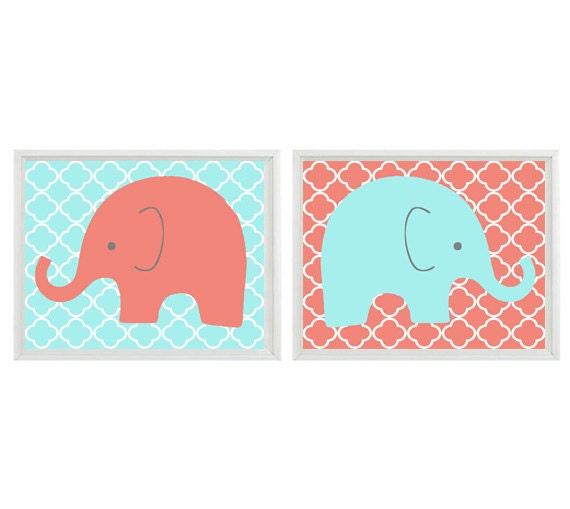 Elephant Nursery Wall Art Print Coral Aqua Decor Children