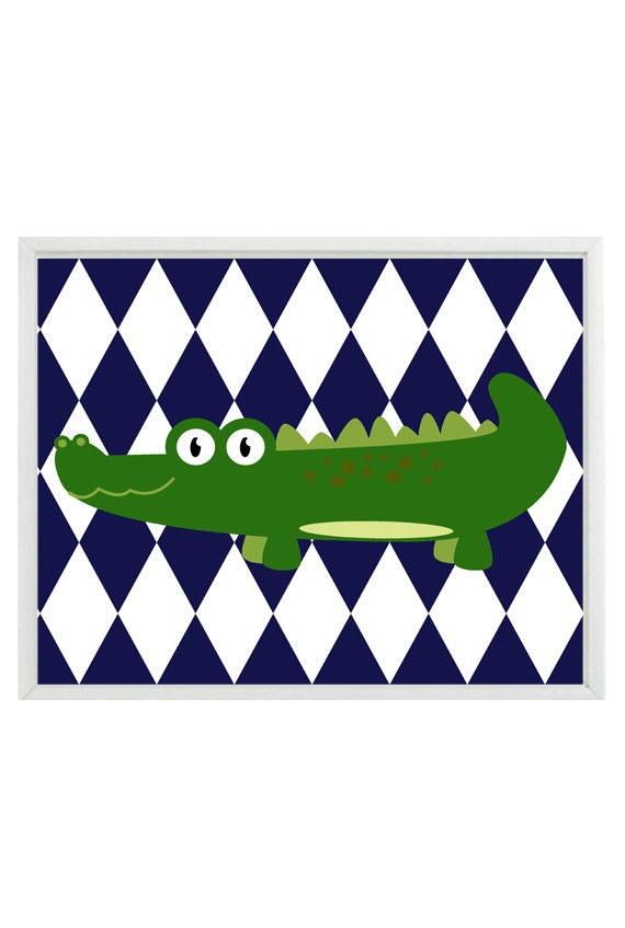 Navy Blue And Green Wall Decor : Alligator nursery wall art print navy blue green decor