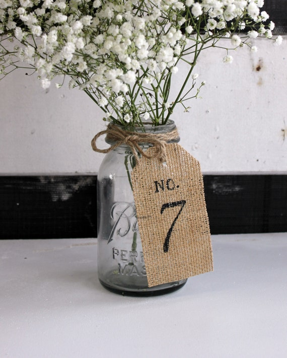 Diy Burlap Wedding Ideas: Wedding Table Numbers / Burlap Table Tags / Rustic Table