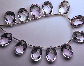Just New Arrival,4 Matched pairs,Finist Quality Pink Amethyst Faceted Oval Shape Briolettes,10x14mm Long,Great Quality