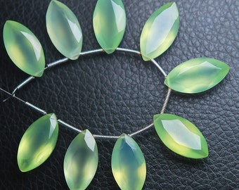 New Arrival,6 pcs,Super Finest,AAA-- PREHNITE Green Chalcedony Faceted Marquise Briolettes 20mm Large Size