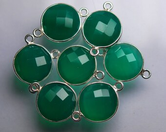 925 Sterling Silver GREEN ONYX Faceted Coins Shape Connector,8 Piece of 19mm