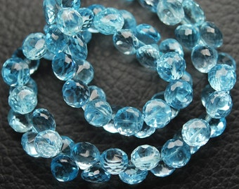 15 Pcs of Extremely Beautiful,Super Rare Item,,Sky Blue Topaz Micro Faceted Onion Shaped Briolettes,6mm,Finest Quality