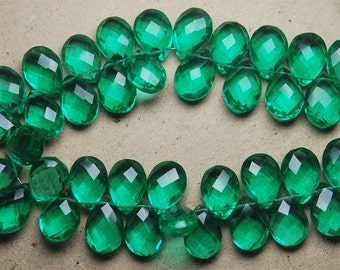 7 Inch Strand.Emerald Green Quartz Micro Faceted Pear Briolette,10x14mm Approx ,