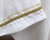 37 Bride of the Lamb Wedding White Linen/Rayon w/Gold Trim T-Tunic