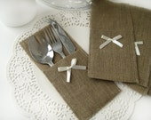 Set of 220-Burlap Silverware Holders with ivory bow - Rustic table decor