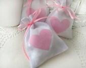 Wedding favor bags - Set of 100- White Rustic Linen Wedding Favor Bag with pink linen hearts -Baby Shower