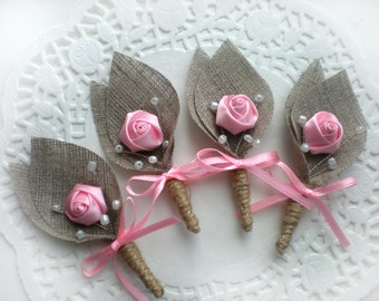 Set of 4-PINK Flower burlap Boutonniere (buttonhole)
