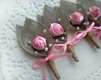 Set of 6-PINK Flower burlap Boutonniere (buttonhole)