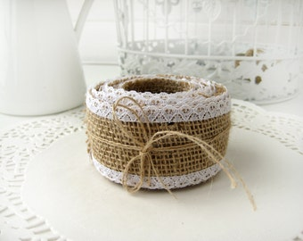 Natural Burlap Ribbon with White Lace - 2 inch x 3 yards