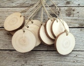 Wood Slices - 10 Blank Carob Tree Branch tags, - Wedding Decor - Shop Tags -.1 4/5  inches in diam.