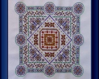 Silk Road Alara! Counted Cross Stitch Chart. Ornamental Design. Mandala. Geometric. X Stitch. DIY. Decor. Direct Checkout.