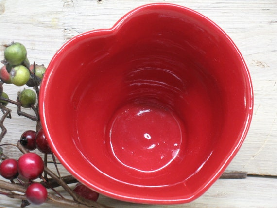 Red Heart Ceramic Bowl Valentines Day Handmade By Heidishoppe