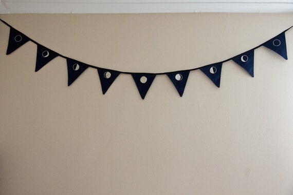Moon Phases - hand-embroidered bunting