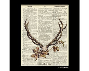 Deer Head Antlers - Dictionary Art Print - Vintage Dictionary Page Book Art Print No. P46