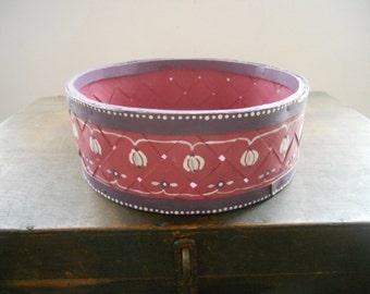 Vintage Swedish round basket Handpainted  storage basket Purple floral basket Farmhouse decor