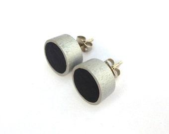 Black and silver stud earrings, wood post earrings, colorblock earrings