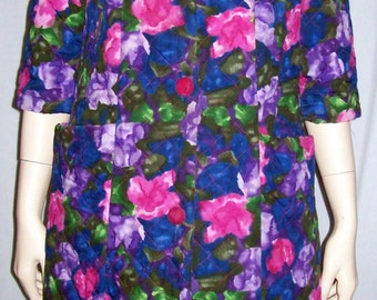 Vintage Saks Fifth Avenue Quilted Robe Floral Blue Pink 1960s 60s Half Sleeve 8 M S
