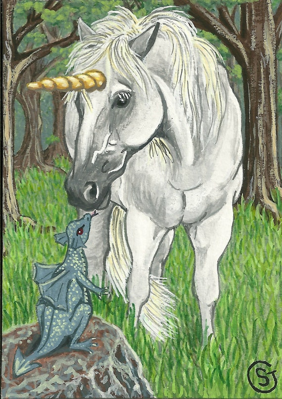 Baby Unicorn And Baby Dragon Unicorn Baby Dragon Aceo